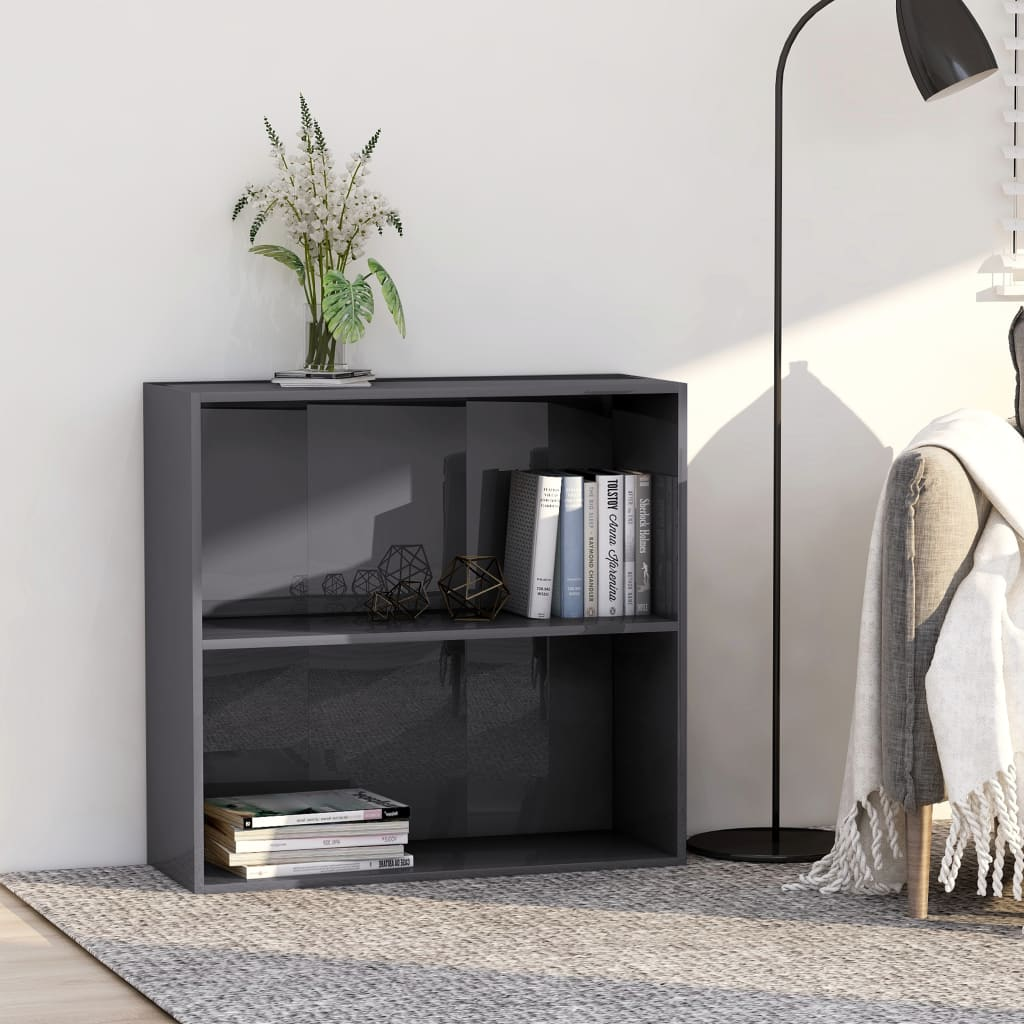 2patrová knihovna šedá vysoký lesk 80x30x76,5 cm dřevotříska