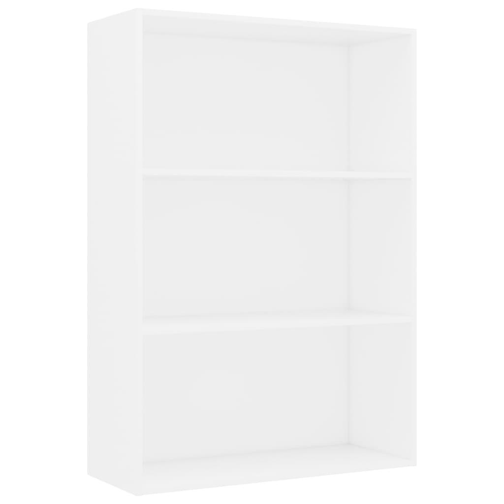 3-korruseline raamaturiiul valge 80x30x114 cm puitlaastplaat