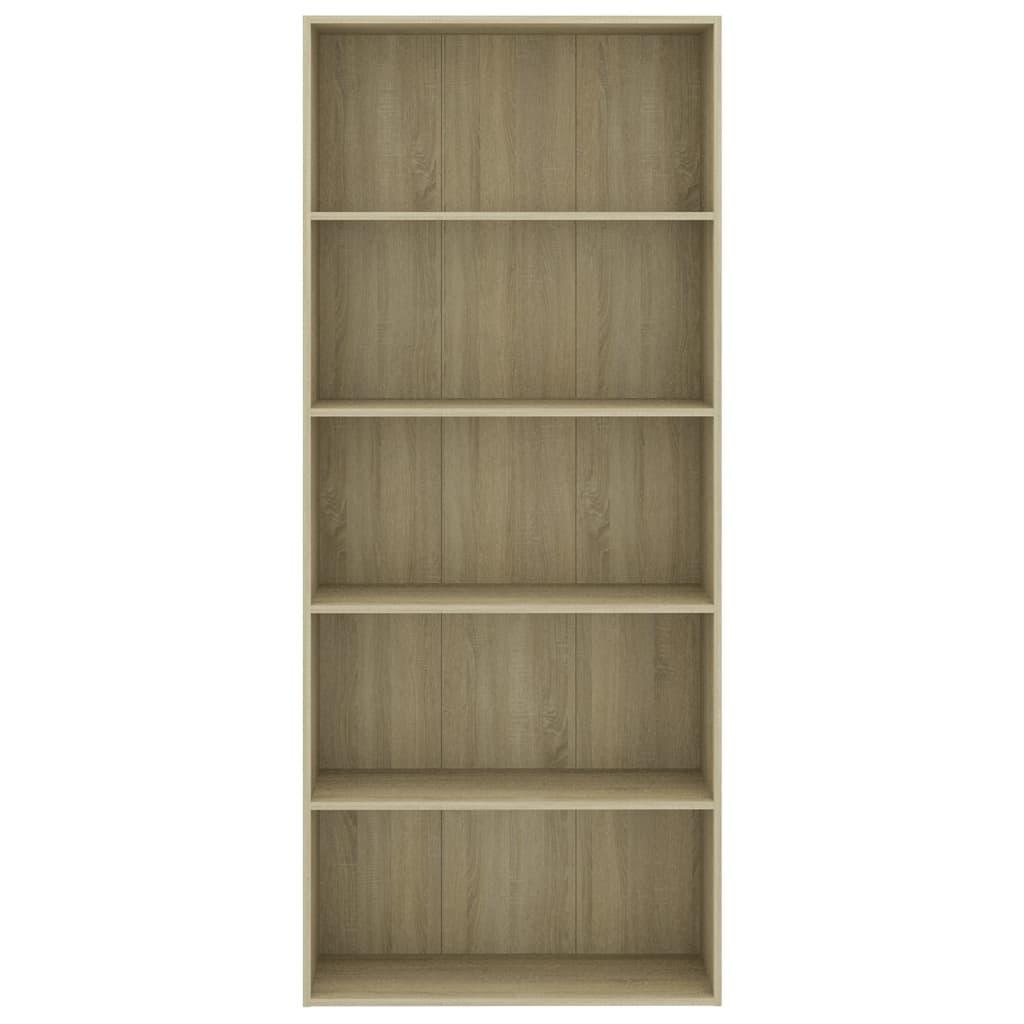 vidaXL Boekenkast met 5 schappen 80x30x189 cm spaanplaat sonoma eiken