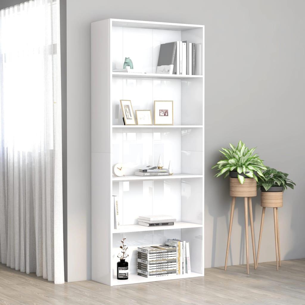 5-korruseline raamaturiiul, valge 80x30x189 cm, p..