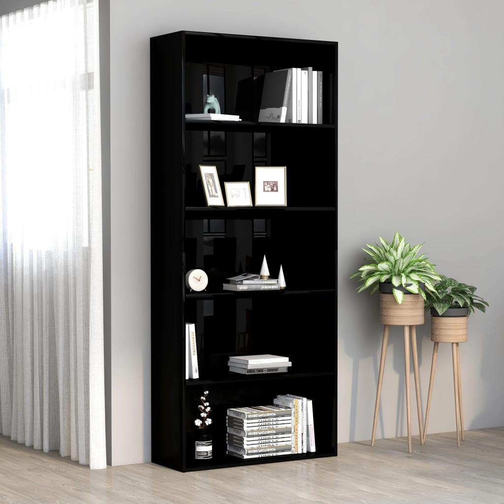 vidaXL Bibliotecă cu 5 rafturi, negru extralucios, 80x30x189 cm, PAL vidaxl.ro