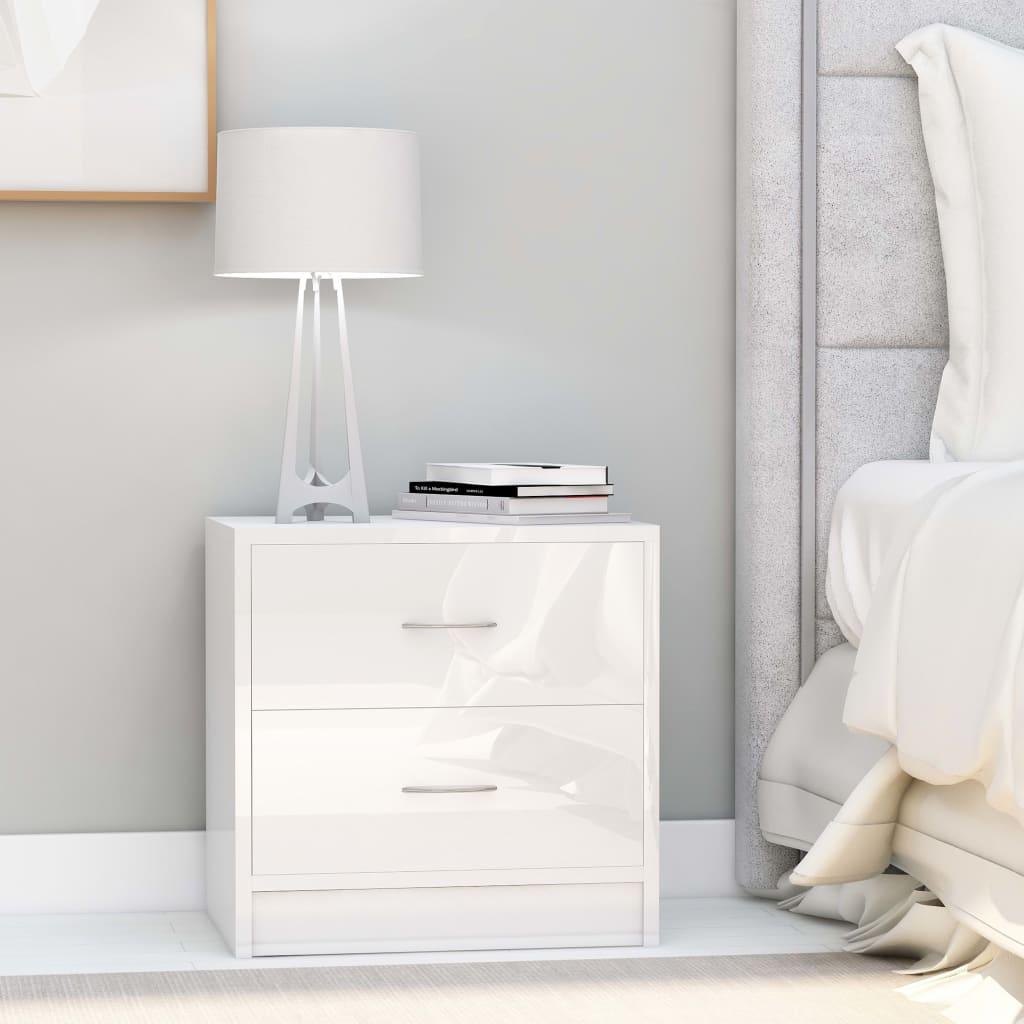 vidaXL Nachtkastje 40x30x40 cm spaanplaat hoogglans wit