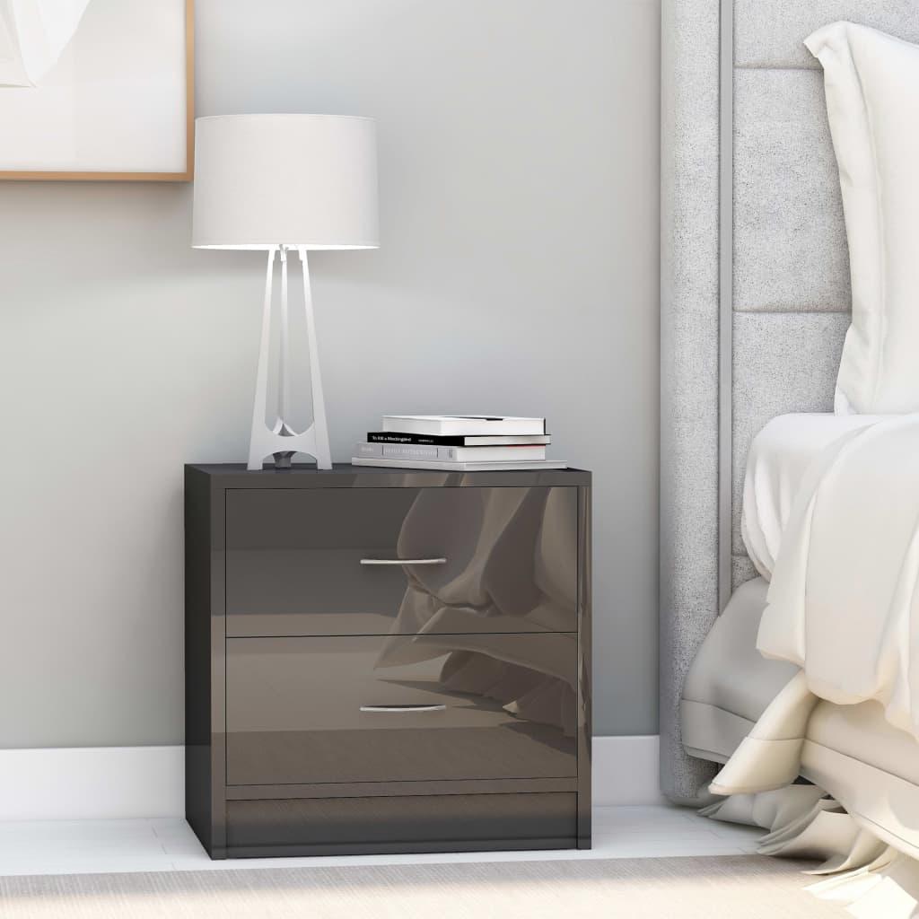 vidaXL Noční stolek šedý s vysokým leskem 40 x 30 x 40 cm dřevotříska