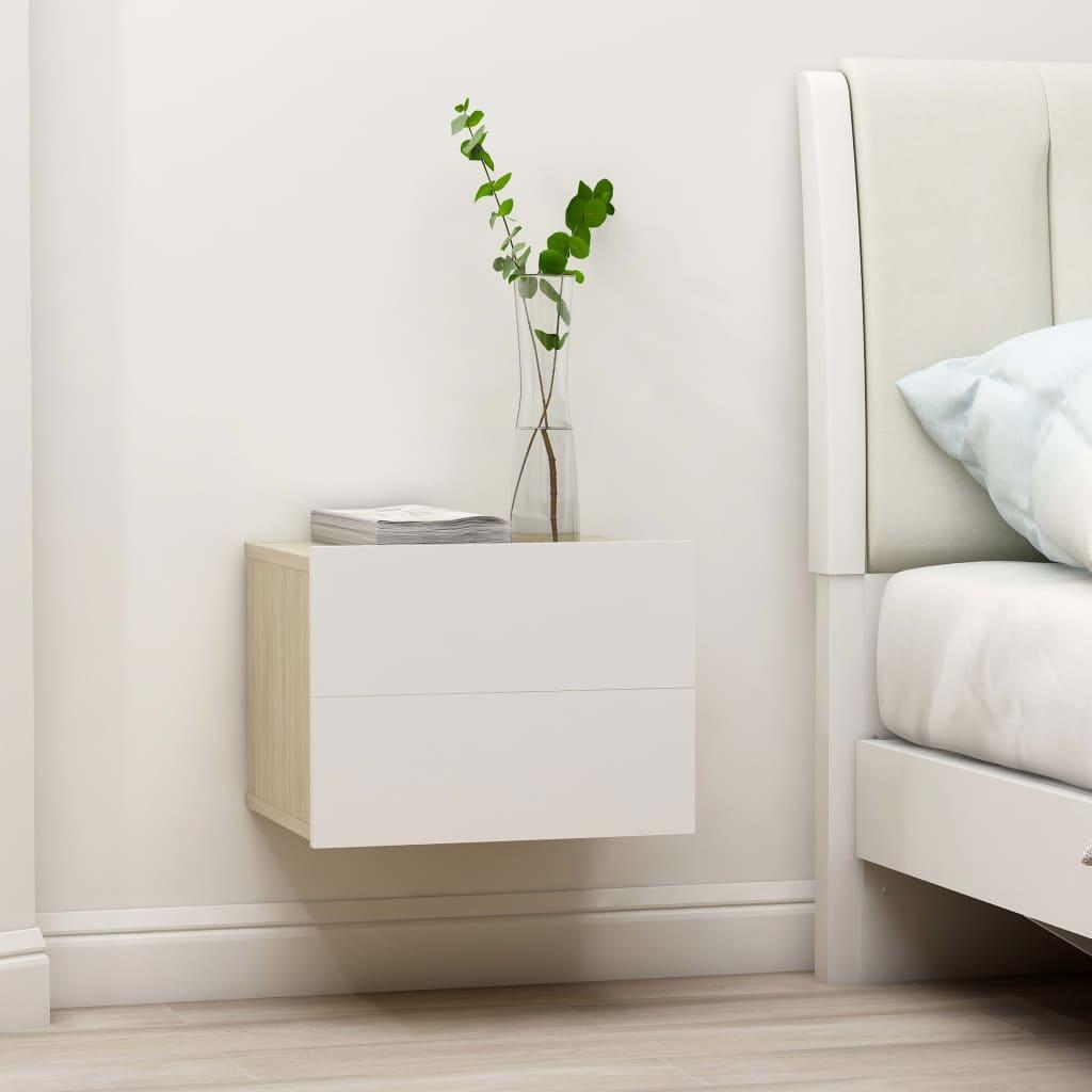 vidaXL Nachtkastje 40x30x30 cm spaanplaat wit en sonoma eikenkleurig