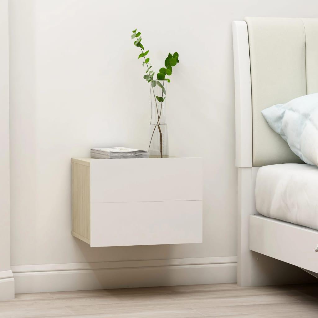 vidaXL Nachttische 2 Stk. Weiß und Sonoma-Eiche 40x30x30cm Spanplatte