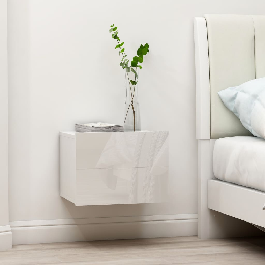 vidaXL Nachtkastje 40x30x30 cm spaanplaat hoogglans wit