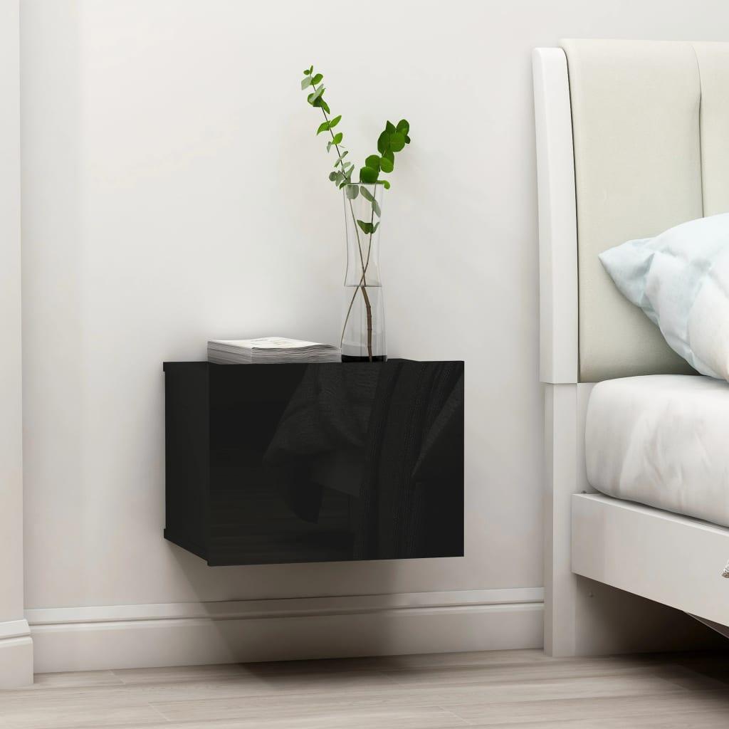 vidaXL Noptiere, 2 buc., negru extralucios, 40 x 30 x 30 cm, PAL imagine vidaxl.ro