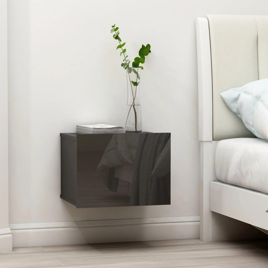vidaXL Noční stolek šedý s vysokým leskem 40 x 30 x 30 cm dřevotříska