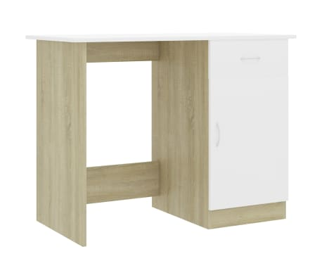 "vidaXL Desk White and Sonoma Oak 39.4""x19.7""x29.9"" Chipboard"