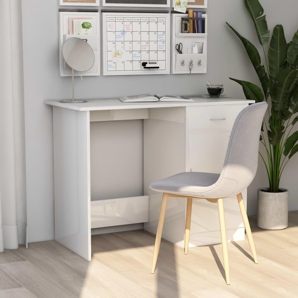 Psací stůl bílý s vysokým leskem 100 x 50 x 76 cm dřevotříska
