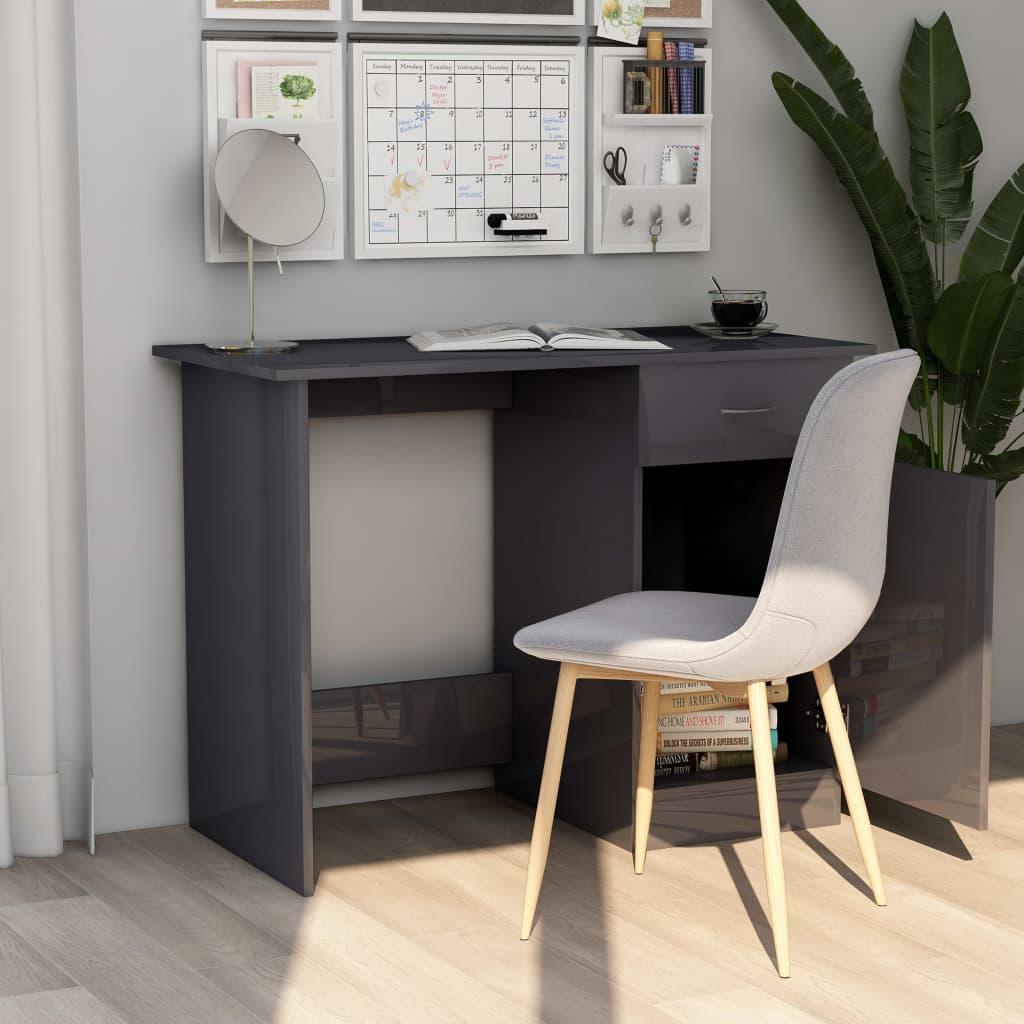 Psací stůl šedý s vysokým leskem 100 x 50 x 76 cm dřevotříska