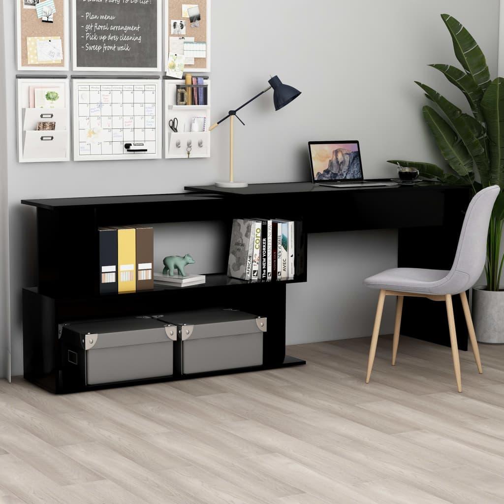 vidaXL Birou de colț, negru, 200 x 50 x 76 cm, PAL imagine vidaxl.ro