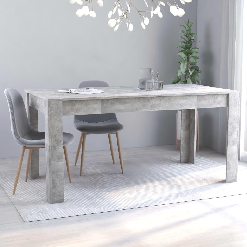 vidaXL Masă de bucătărie, gri beton, 160 x 80 x 76 cm, PAL vidaxl.ro
