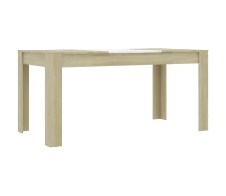 "vidaXL Dining Table White and Sonoma Oak 63""x31.5""x30"" Chipboard"