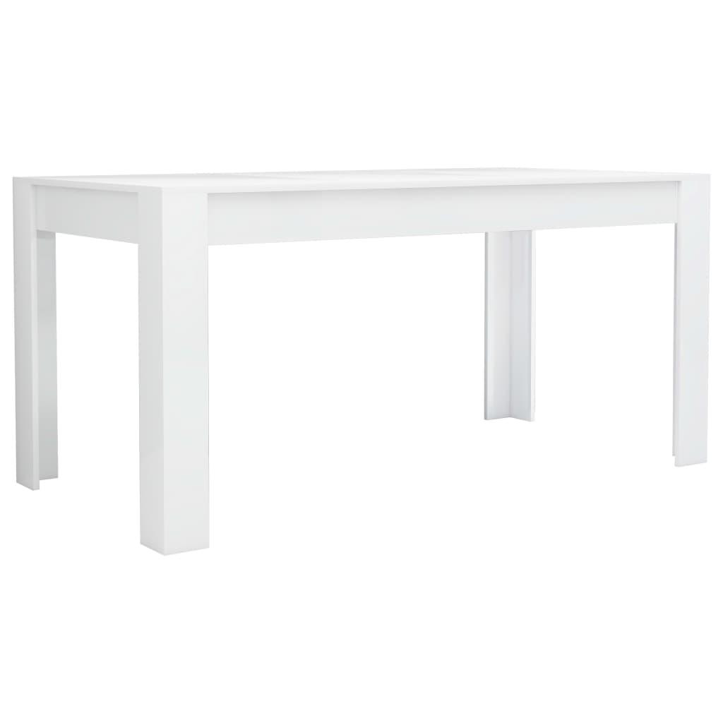 vidaXL Τραπεζαρία Γυαλιστερό Λευκό 160 x 80 x 76 εκ. από Μοριοσανίδα