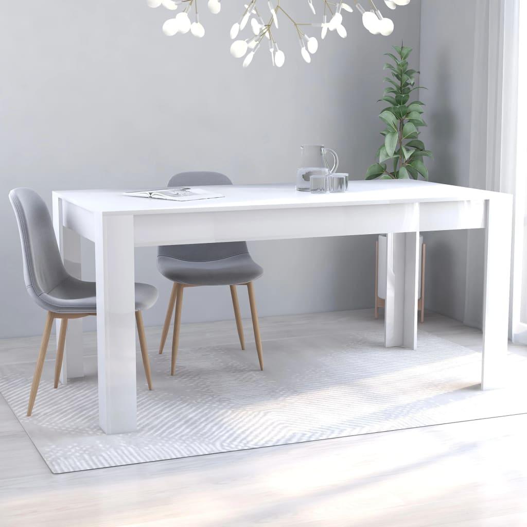 vidaXL Masă de bucătărie, alb extralucios, 160 x 80 x 76 cm, PAL imagine vidaxl.ro