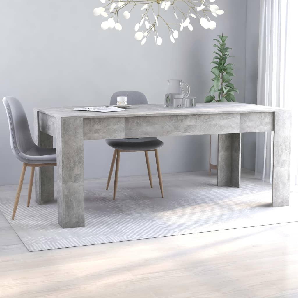 vidaXL Masă de bucătărie, gri beton, 180 x 90 x 76 cm, PAL vidaxl.ro