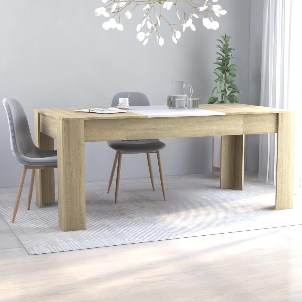 vidaXL Tavolo da Pranzo Bianco e Rovere Sonoma 180x90x76 cm Truciolato