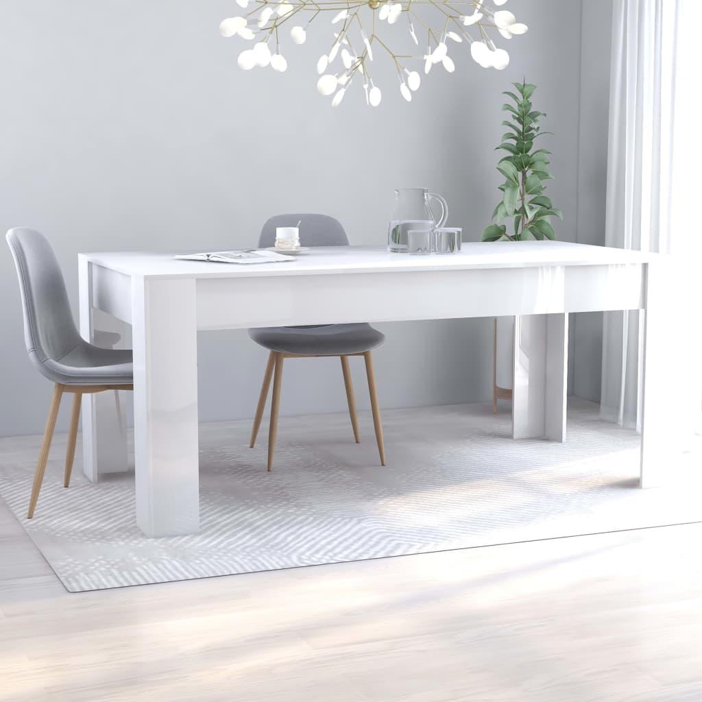 vidaXL Tavolo da Pranzo Bianco Lucido 180x90x76 cm in Truciolato