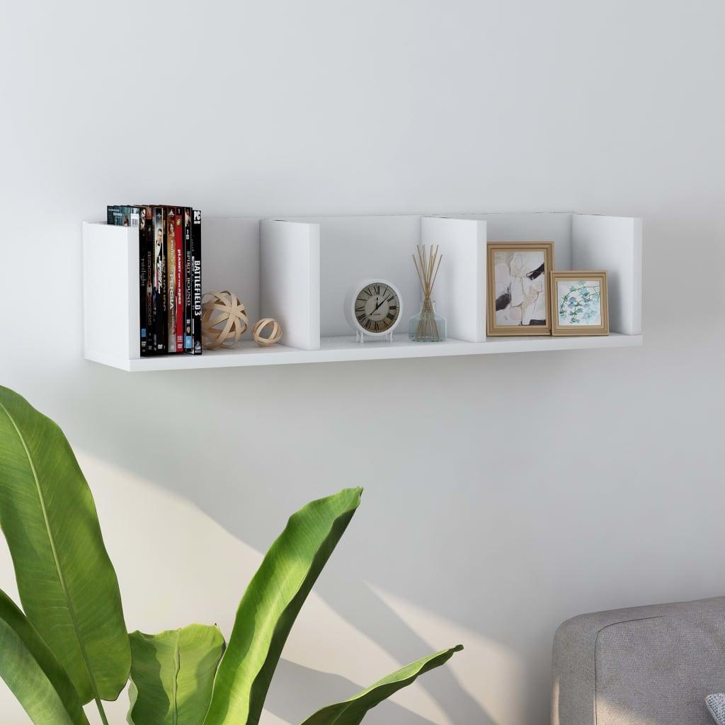 vidaXL Raft de perete pentru CD-uri, alb, 75 x 18 x 18 cm, PAL vidaxl.ro