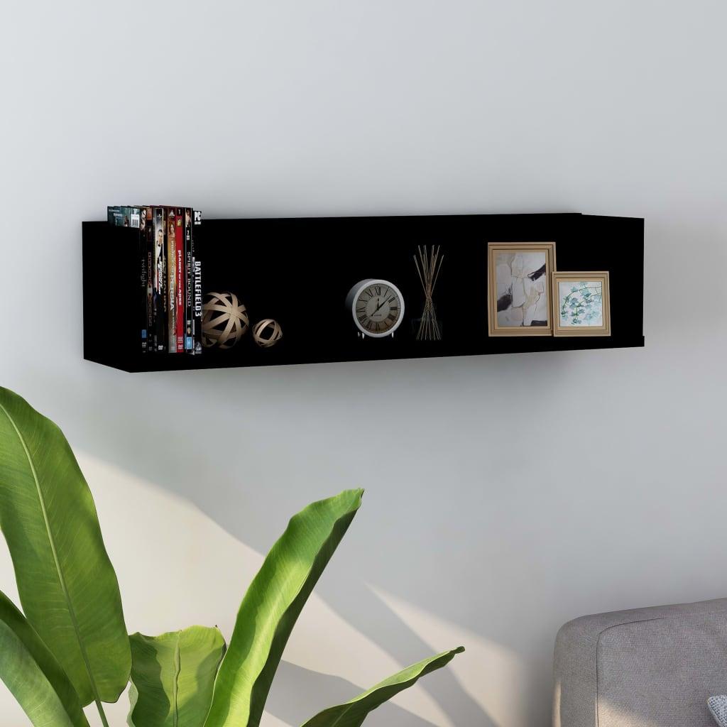 vidaXL Raft de perete CD-uri, negru, 75 x 18 x 18 cm, PAL poza 2021 vidaXL
