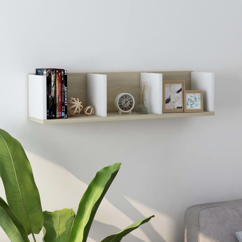 vidaXL Raft de perete CD-uri, alb și stejar Sonoma, 75x18x18 cm, PAL poza 2021 vidaXL