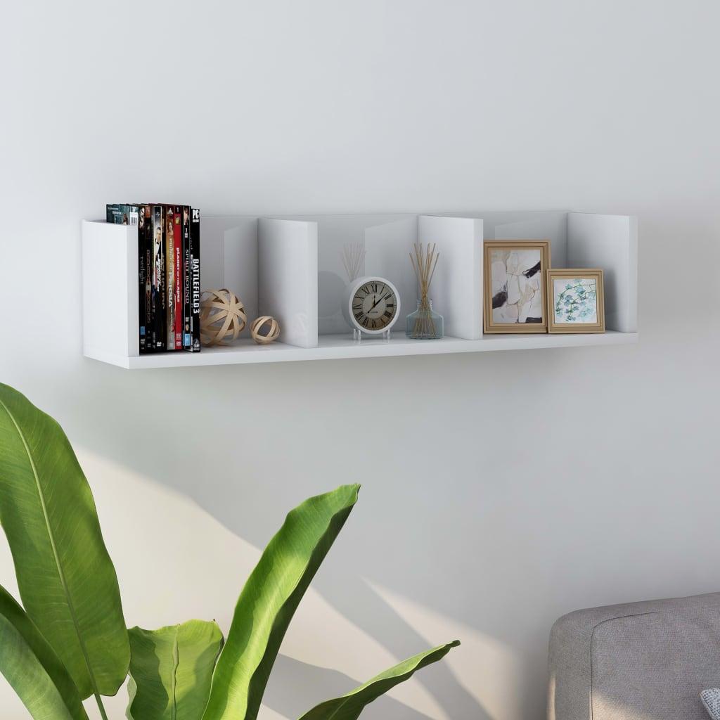 vidaXL Raft de perete CD-uri, alb extralucios, 75 x 18 x 18 cm, PAL poza 2021 vidaXL