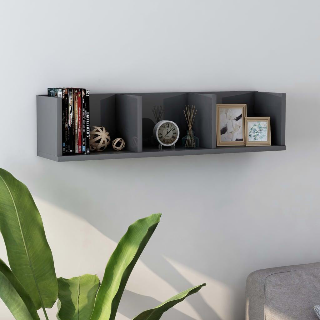 vidaXL Raft de perete CD-uri, gri extralucios, 75 x 18 x 18 cm, PAL imagine vidaxl.ro