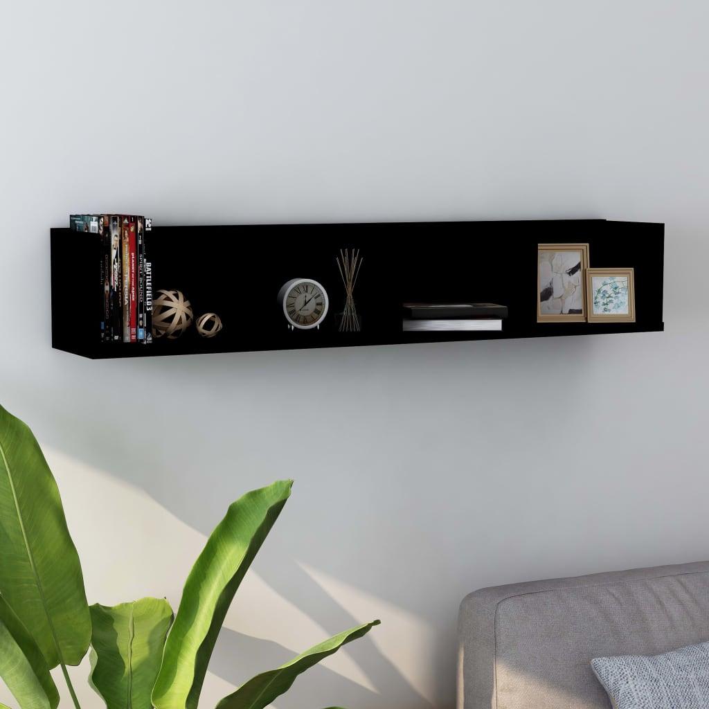 vidaXL Raft de perete pentru CD-uri, negru, 100 x 18 x 18 cm, PAL vidaxl.ro