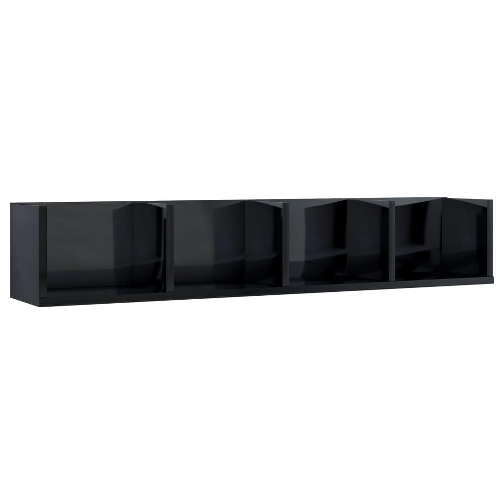 vidaXL Ράφι Τοίχου για CD Γυαλιστερό Μαύρο 100x18x18 εκ. Μοριοσανίδα