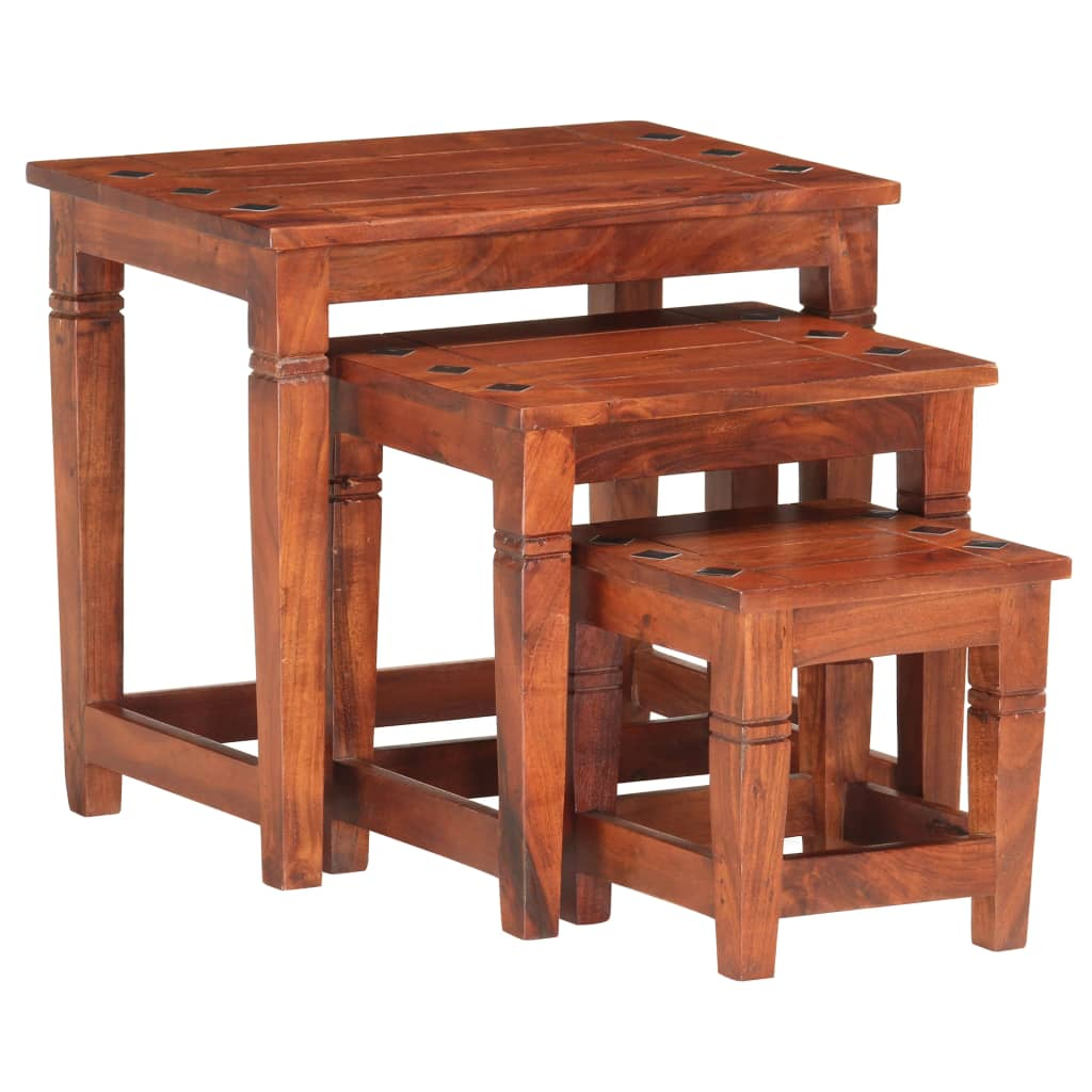 vidaXL Mese suprapuse, 3 buc., lemn masiv de acacia poza vidaxl.ro