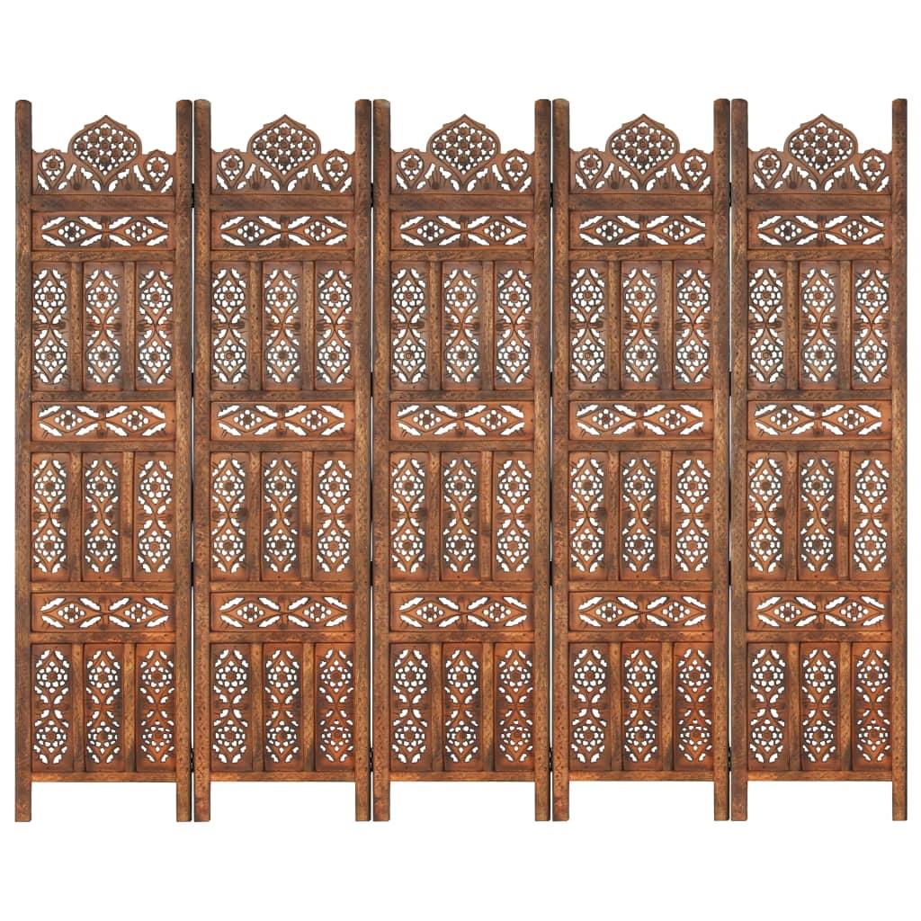 vidaXL 5-tlg. Raumteiler Handgeschnitzt Braun 200×165 cm Mangoholz