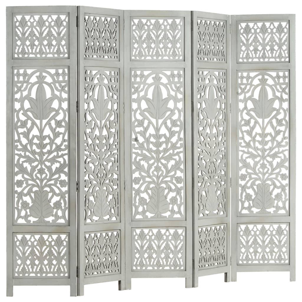 Rumsavdelare 5 paneler handsnidad grå 200×165 cm mangoträ