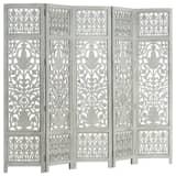 vidaXL Kamerscherm 5 panelen handgesneden 200x165 cm mangohout grijs