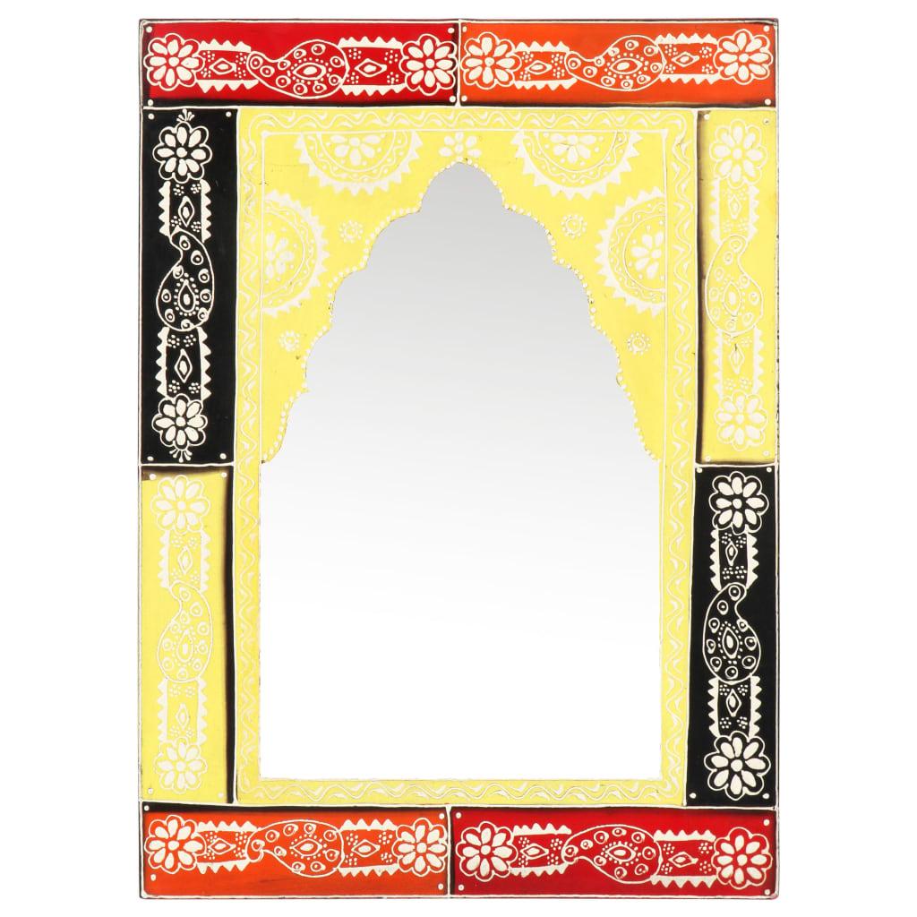 Ručně malované zrcadlo 40 x 55 cm masivní mangovníkové dřevo