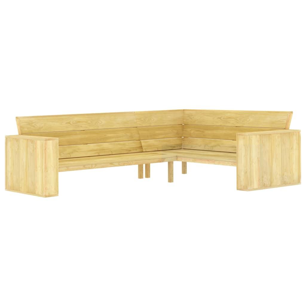vidaXL Bancă de grădină de colț, 239 cm, lemn de pin tratat imagine vidaxl.ro