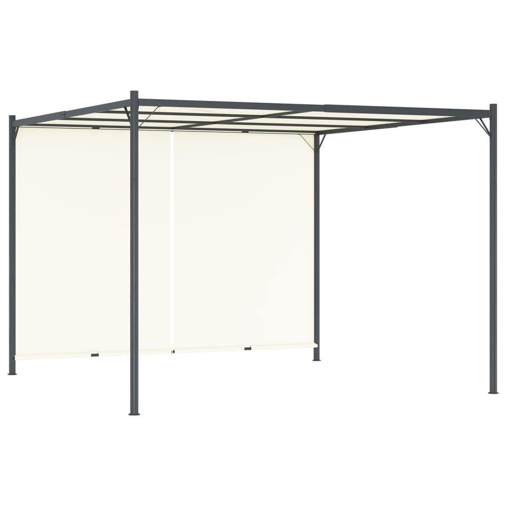 vidaXL Pergolă cu acoperiș rabatabil, alb crem, 3 x 3 m, oțel vidaxl.ro
