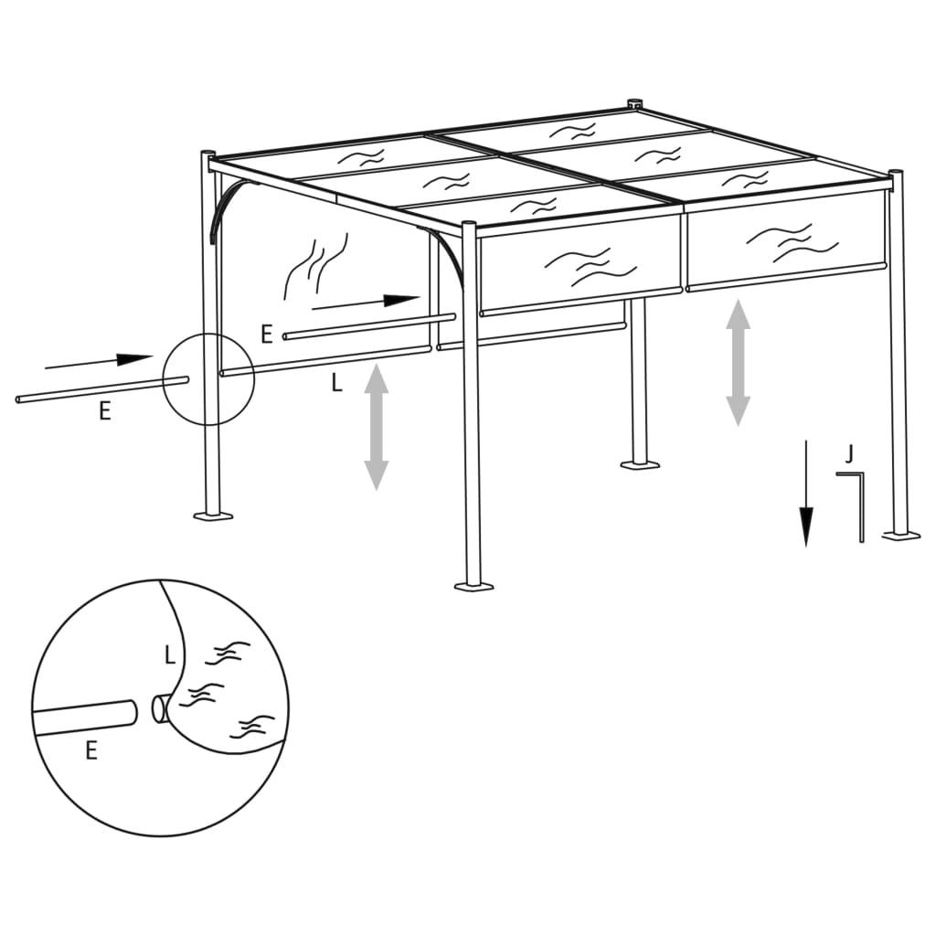 Pergola met verstelbaar dak 3x3 m staal crèmewit