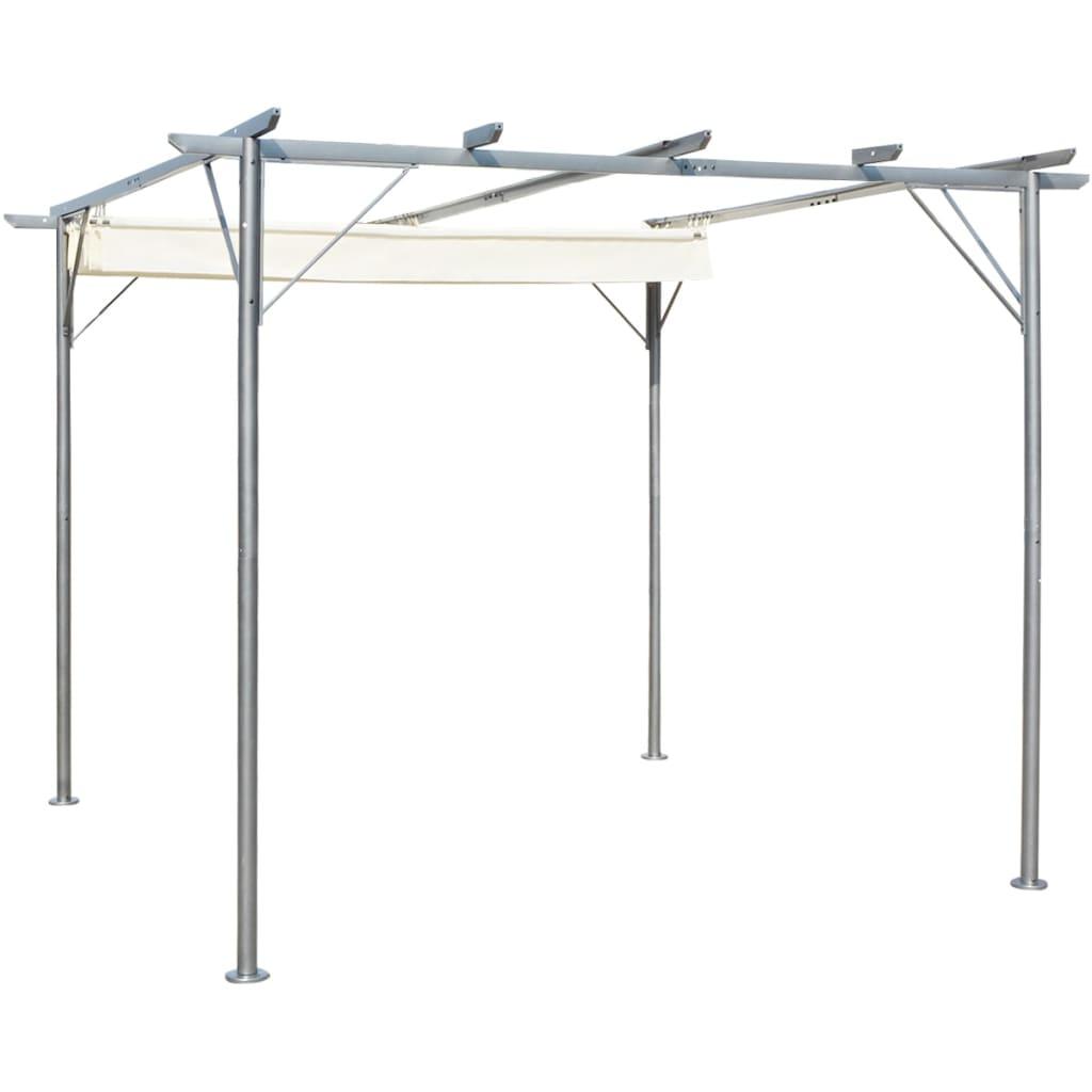 vidaXL Pergolă cu acoperiș retractabil, alb crem, 3 x 3 m, oțel vidaxl.ro