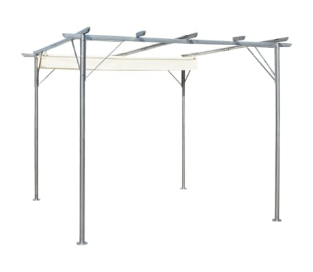 vidaXL Pergola with Retractable Roof Cream White 3x3 m Steel