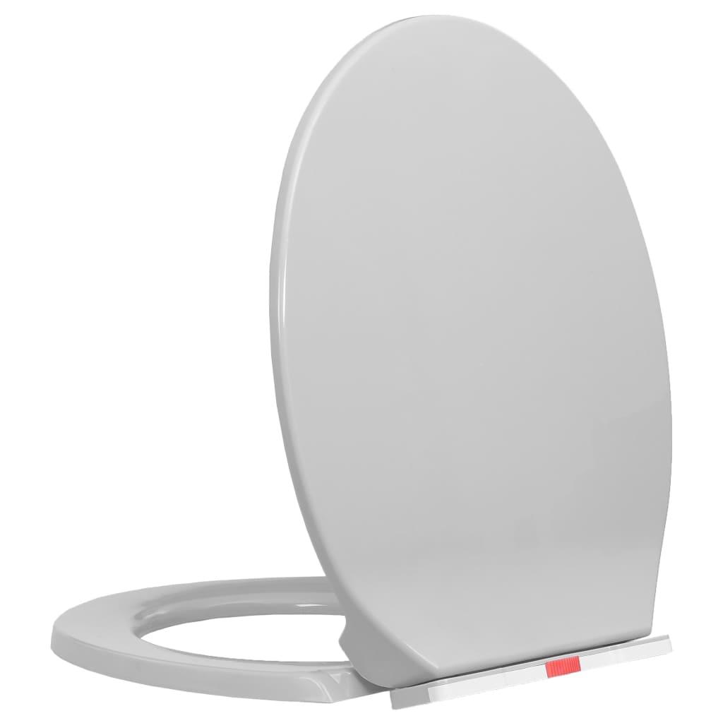 vidaXL Capac WC închidere silențioasă eliberare rapidă gri deschis imagine vidaxl.ro