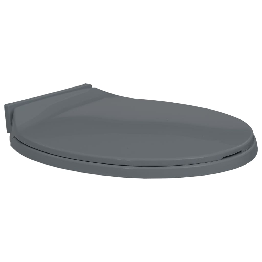 vidaXL WC sedátko s pomalým sklápěním šedé oválné