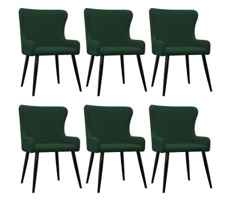 vidaXL Scaune de sufragerie, 6 buc., verde, catifea