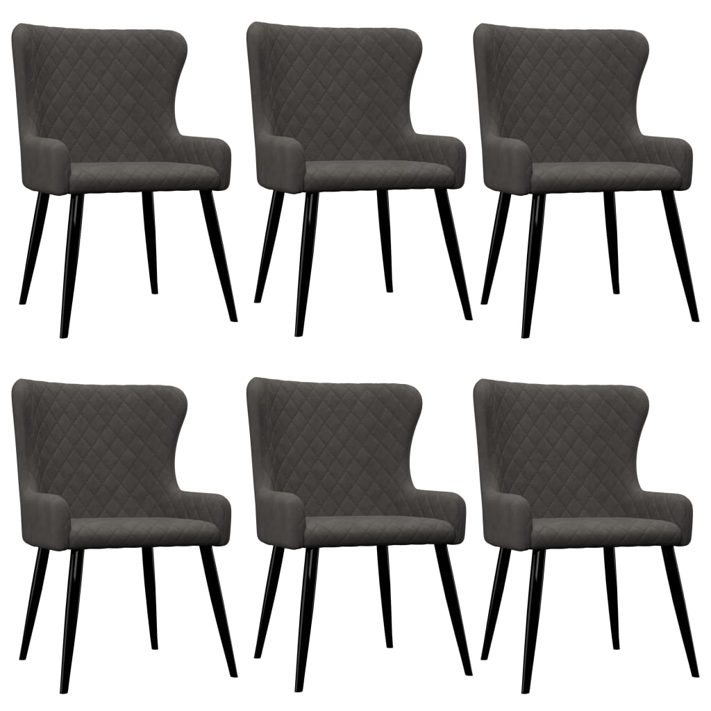 vidaXL Καρέκλες Τραπεζαρίας 6 τεμ. Γκρι Βελούδινες