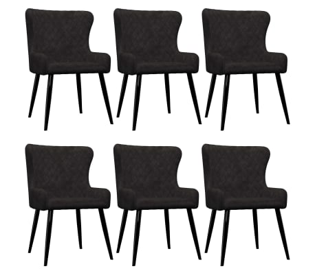 vidaXL Dining Chairs 6 pcs Black Velvet