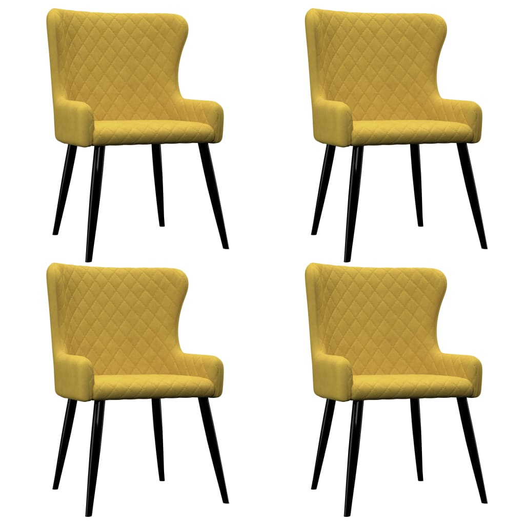 vidaXL Καρέκλες Τραπεζαρίας 4 τεμ. Κίτρινες Βελούδινες