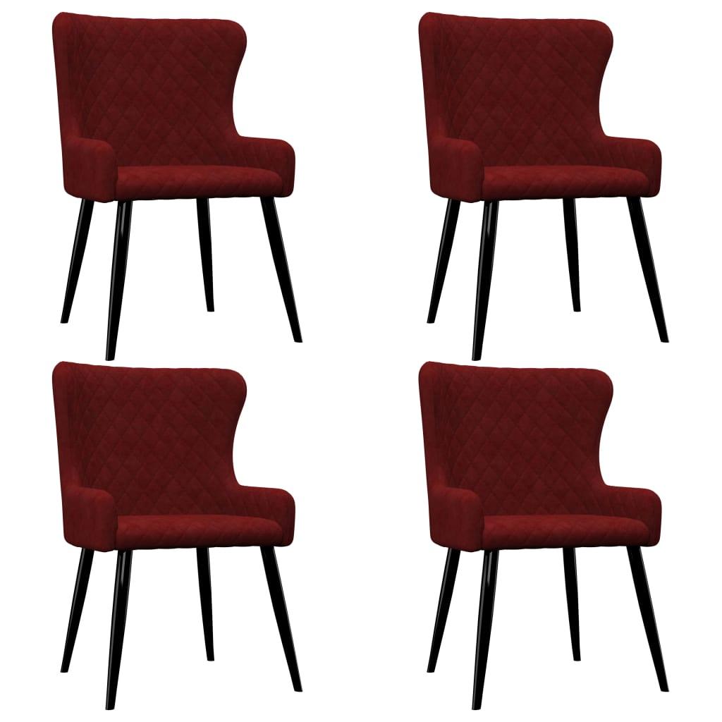 vidaXL Καρέκλες Τραπεζαρίας 4 τεμ. Κόκκινες Βελούδινες