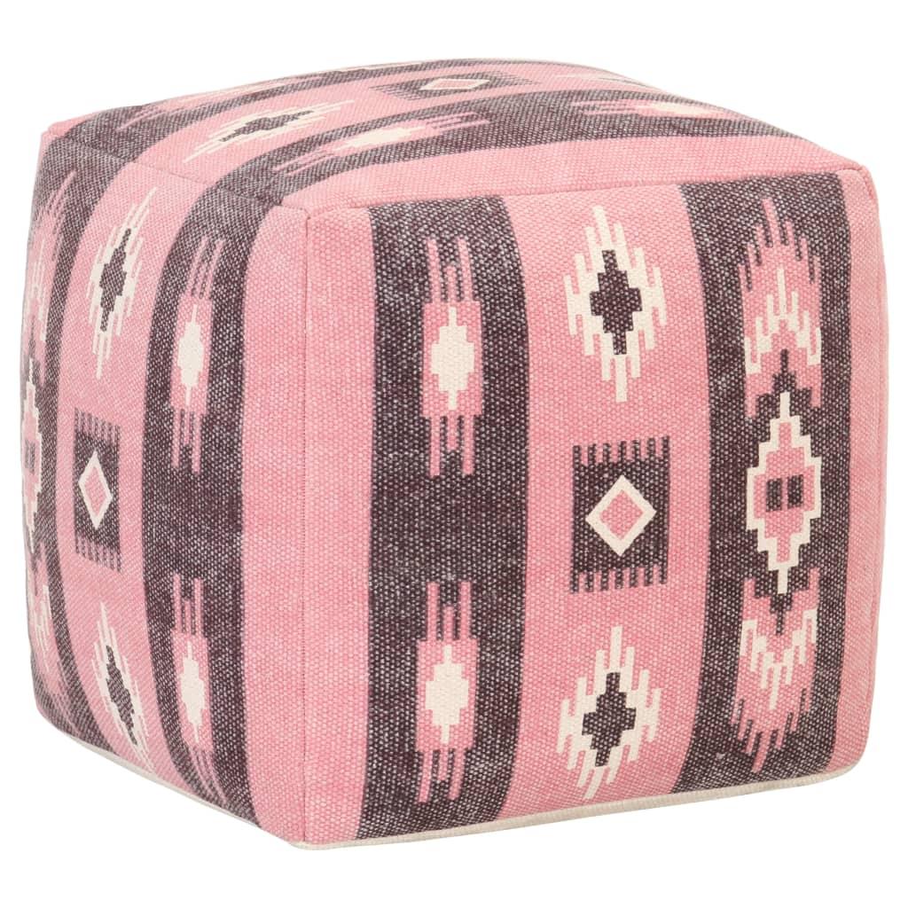Taburet s potiskem růžový 45 x 45 x 45 cm bavlna