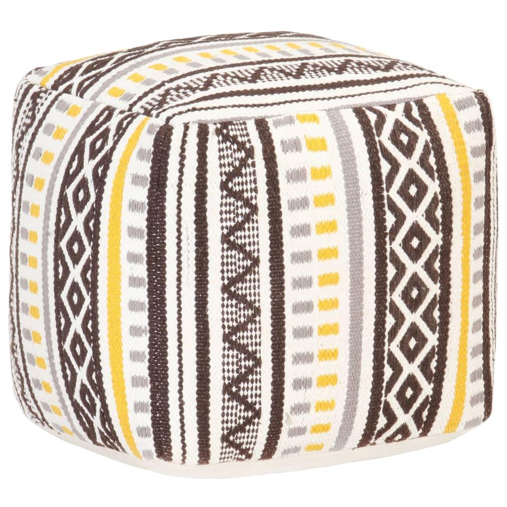Taburet tkaný design barevný 45 x 45 x 45 cm bavlna