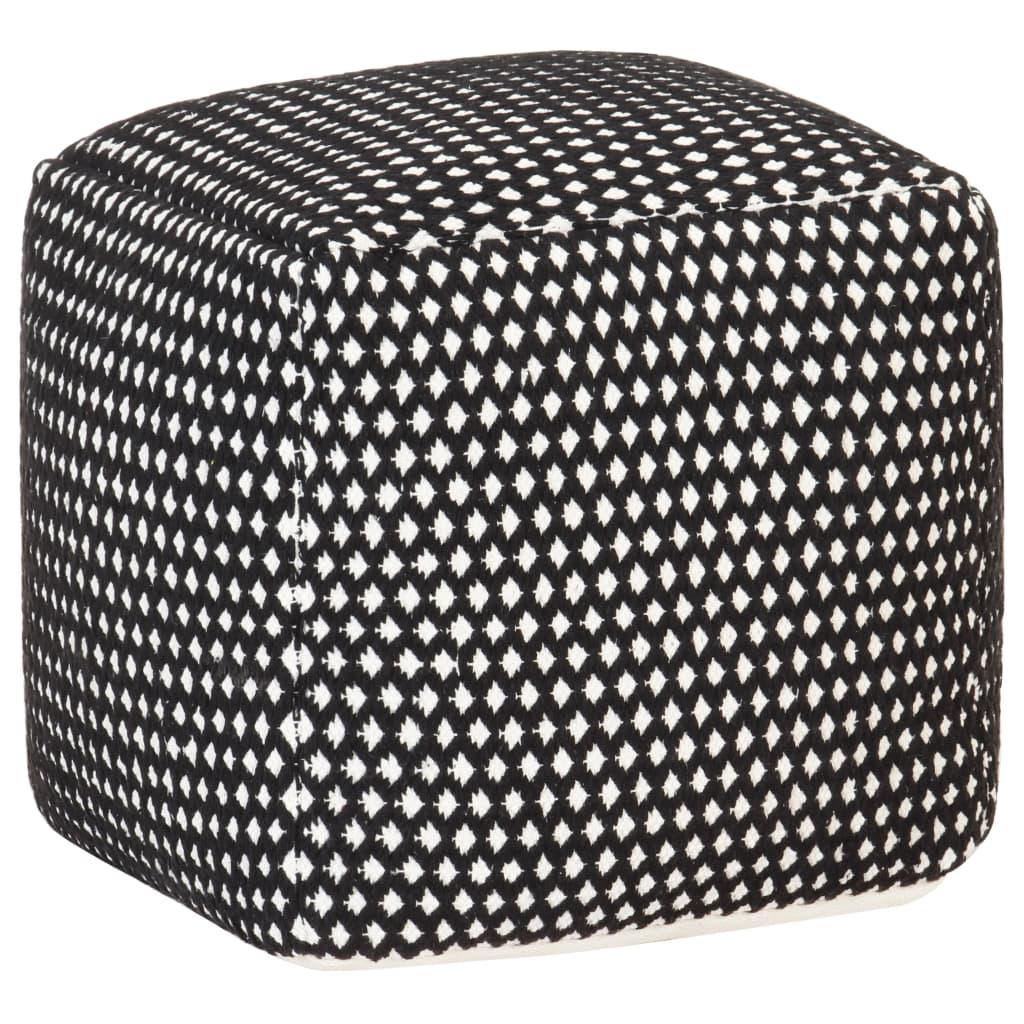 vidaXL Taburet puf, negru și alb, 45x45x45 cm, bumbac, design țesut imagine vidaxl.ro